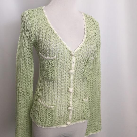 Betsey Johnson Sweaters Small Green White Crochet Cardigan Poshmark